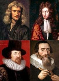 Na foto, quatro dos cientistas mais notáveis da humanidade: Sir. Isaac Newton, Robert Boyle, Francis Bacon e Johannes Kepler.